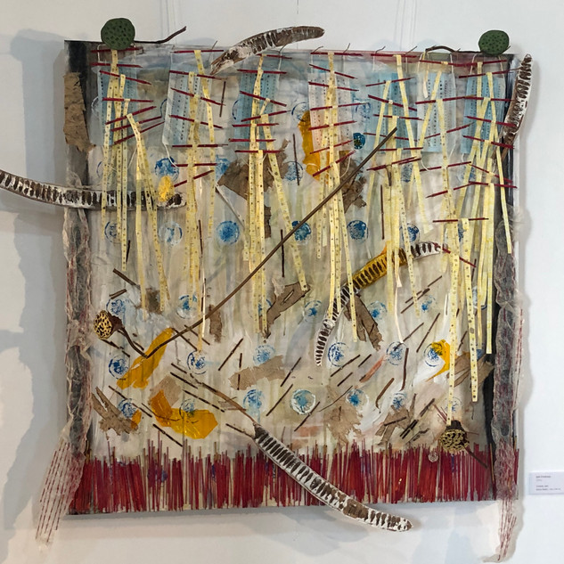"Untitled (Nakhon Sawan) Mixed Media: acrylic, wood, wire, lotus, gold leaf, wax paper, plant fiber paper, rice paper, seed pods, brass, face masks, incense, fire, canvas 40"" x 40"" 2020  Collection of the Municipality of Nakhon Sawan, Thailand"