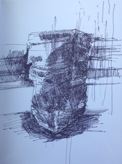 """Monument Sketch 2 Ink on paper 9"""" x 12"""" 2016"""