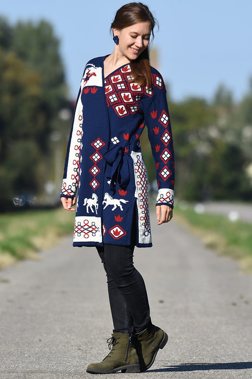 Horse patterned knitted coat