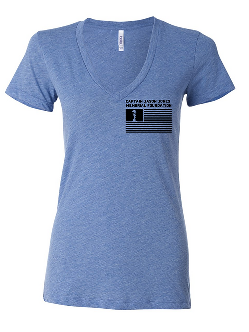 Blue Triblend Women's Relaxed Short Sleeve Jersey V-Neck Tee
