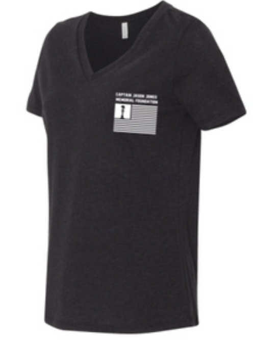 Black Heather Women's Relaxed Short Sleeve Jersey V-Neck Tee