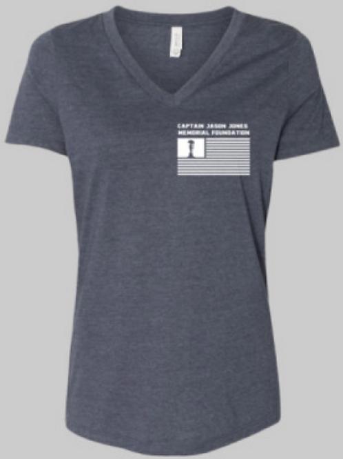 Navy Women's Relaxed Short Sleeve Jersey V-Neck Tee