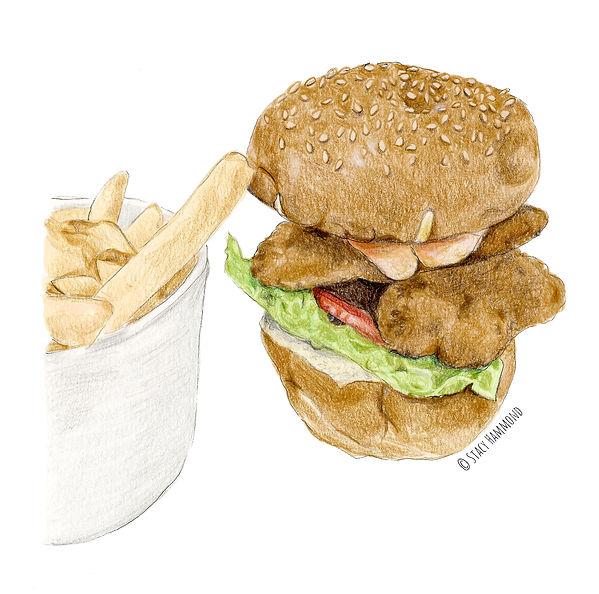 Burger and fries coloured pencil illustration