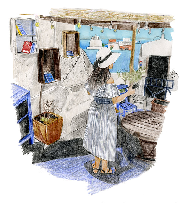 Santorini book shop