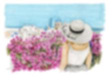 Santorini floral view