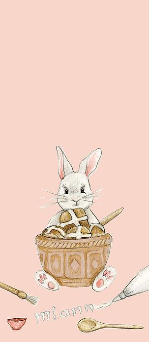 Bunny Rabbit making hot cross buns front
