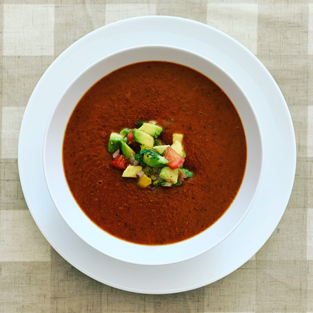 smoky red bean soup with avocado salsa