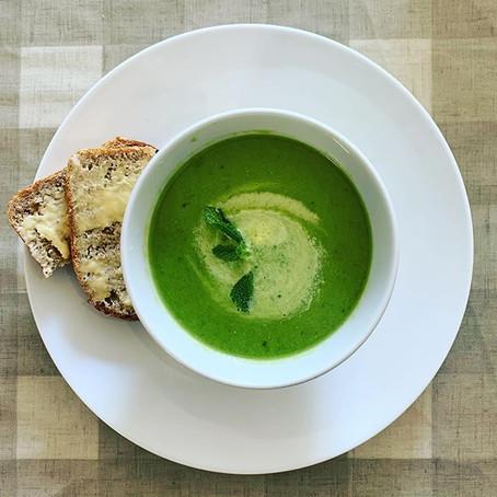 springtime minted pea soup