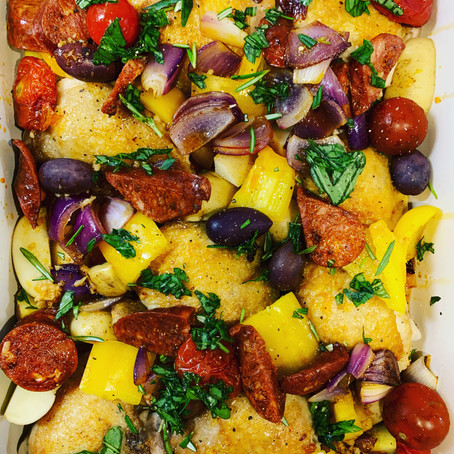 smoky chicken and chorizo traybake
