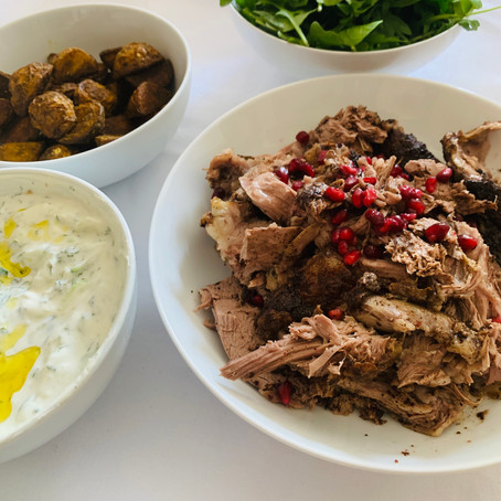 aromatic slow-roasted lamb with tzatziki