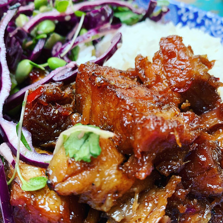 sticky pork belly with ginger, chilli and lemongrass