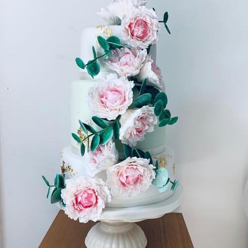 Peony and Eucalyptus Wedding Cake