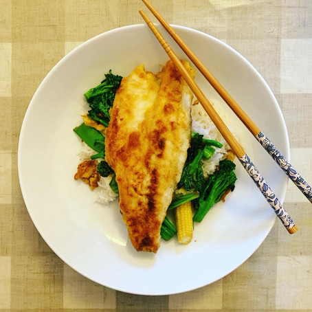 fried sea bass with asian greens
