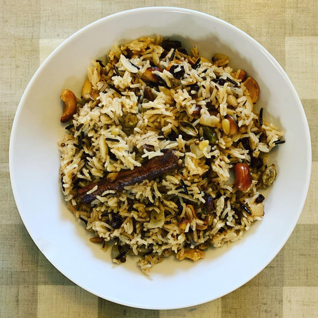 fragrant pilau rice with nuts and wild rice