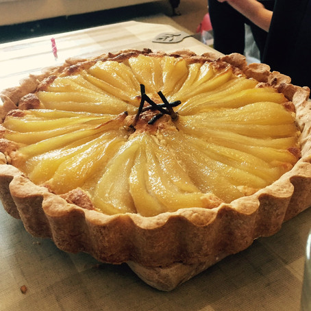saffron-poached pear and almond tart