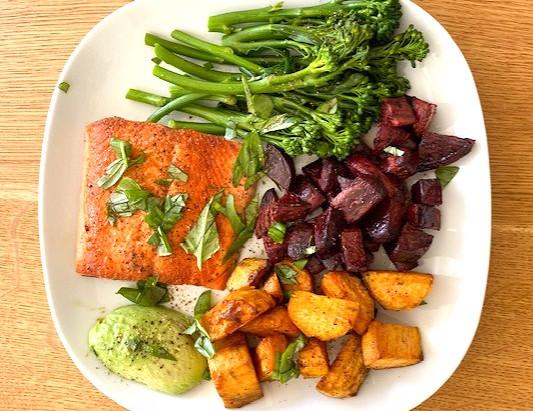 Karina Canellakis's Oven Roasted Veggies with Salmon or Tofu