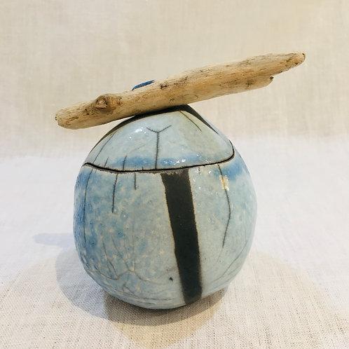 Boîte ronde en raku. Petit Modèle.
