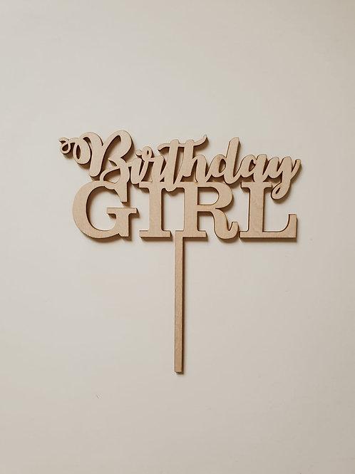Houten cake topper 'Birthday Girl'