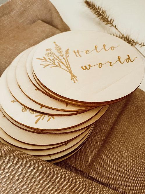Mijlpaal schijven hout Wildflower - set van 16