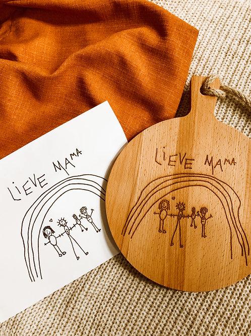 Houten plank met eigen tekst of tekening