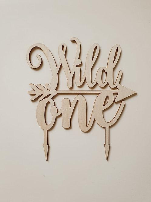 Houten cake topper 'Wild One'