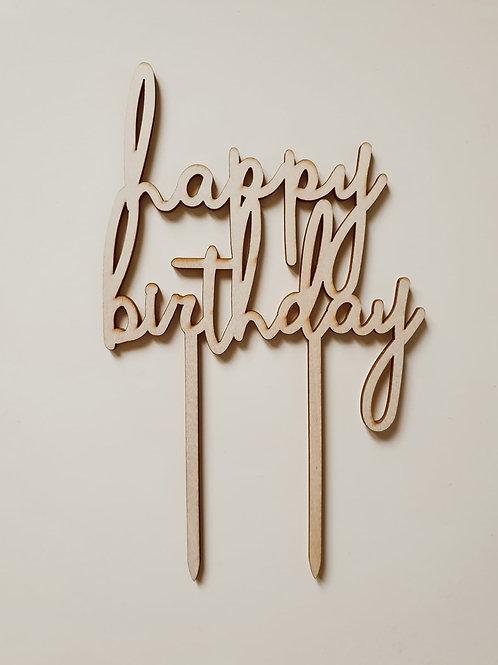 Houten cake topper 'Happy Birthday'
