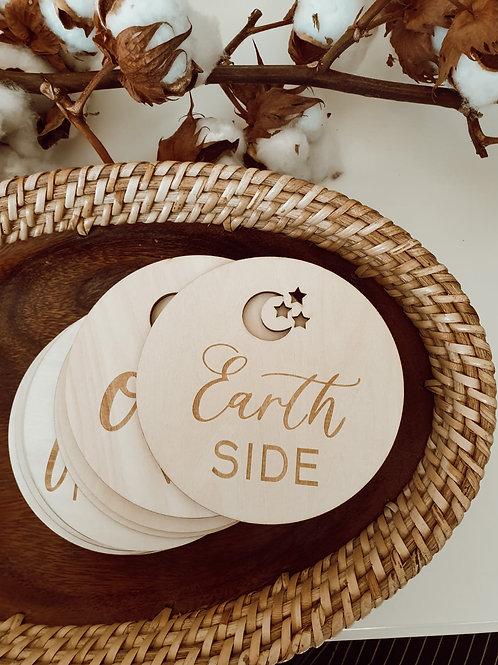 Mijlpaal schijven hout Moon&stars - set van 16
