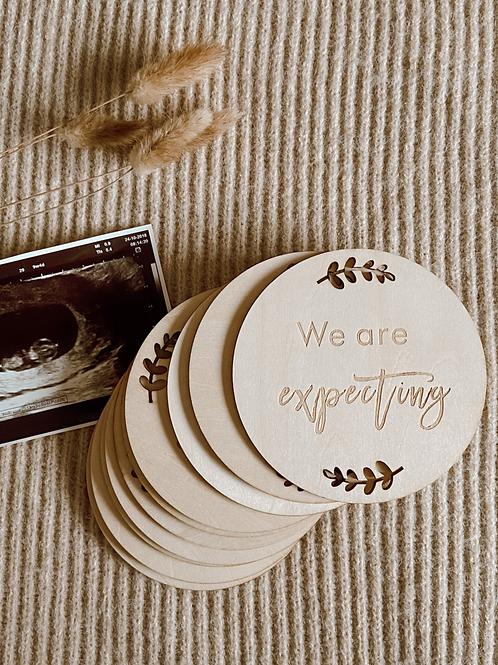 Mijlpaal schijven hout - Zwangerschap