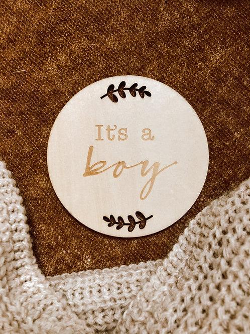 Houten schijf ' It's a boy '