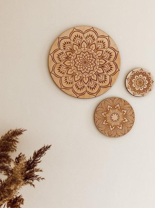 Mandala wand decoratie - set van 3 of 6