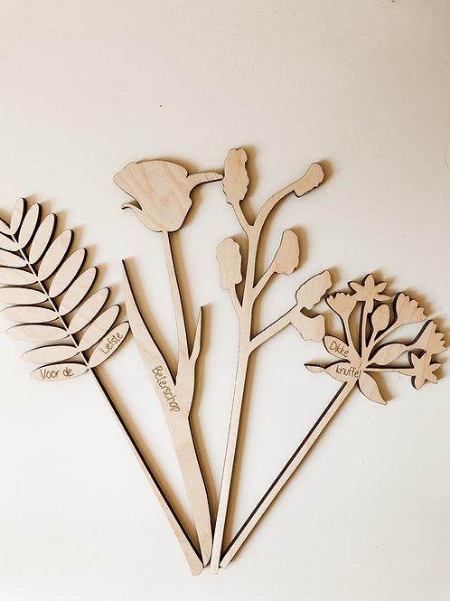 Houten bloem gegraveerd - set van 2