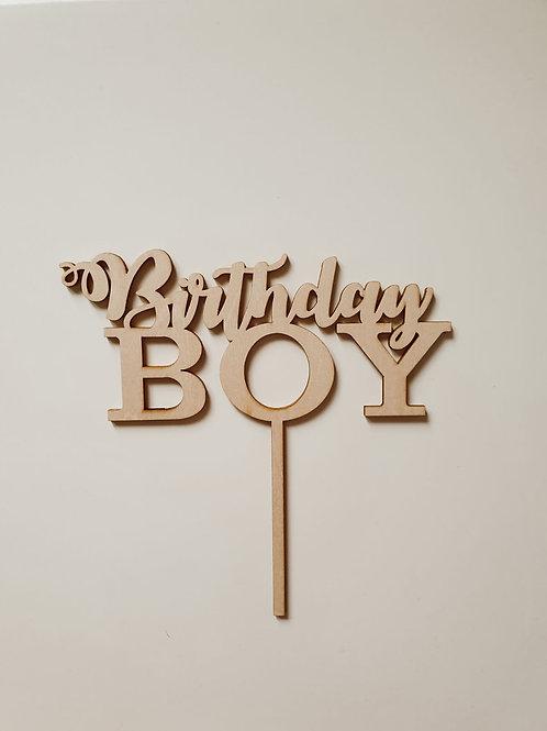 Houten cake topper 'Birthday Boy'