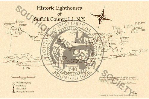 """Historic Lighthouses of Suffolk County - 11""""x 17"""""""