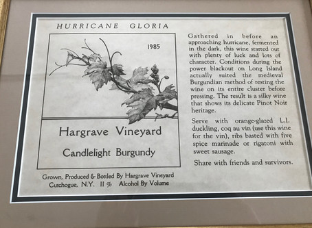 Hargrave Vineyard  Hurricane Gloria Wine Case Label submitted by Georgienne Sterling