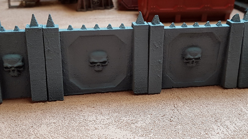 Gothic Skull pattern defence walls - Straight Sections