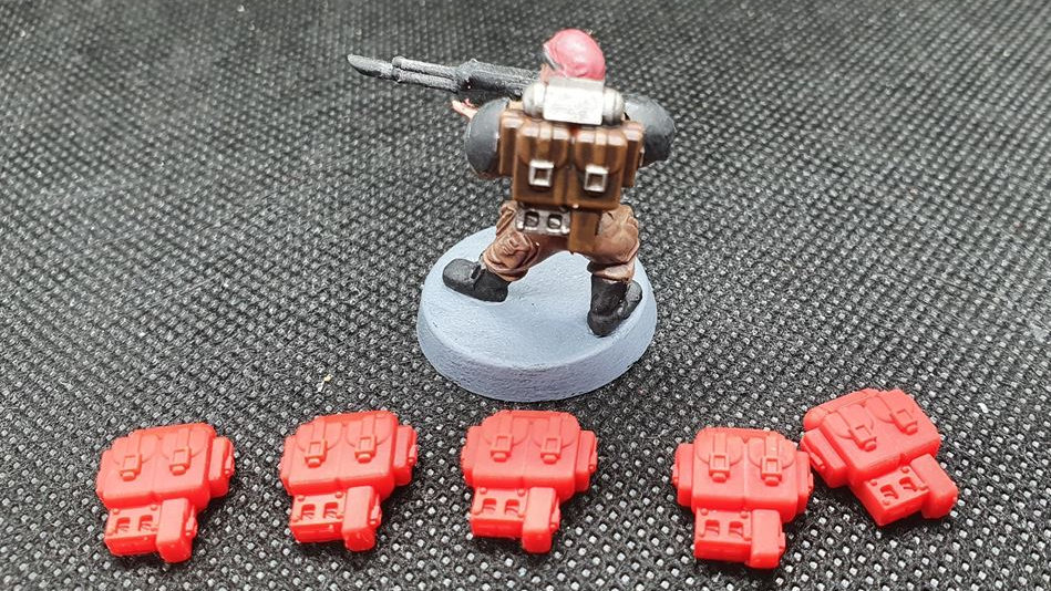 5x 28mm Wargames Backpacks - Warhammer40k Astra Militarum, Imperial guard