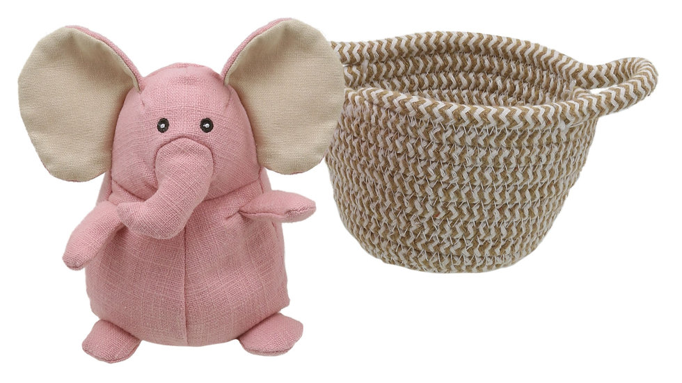 Wilberry Elephant in basket 'Pink'