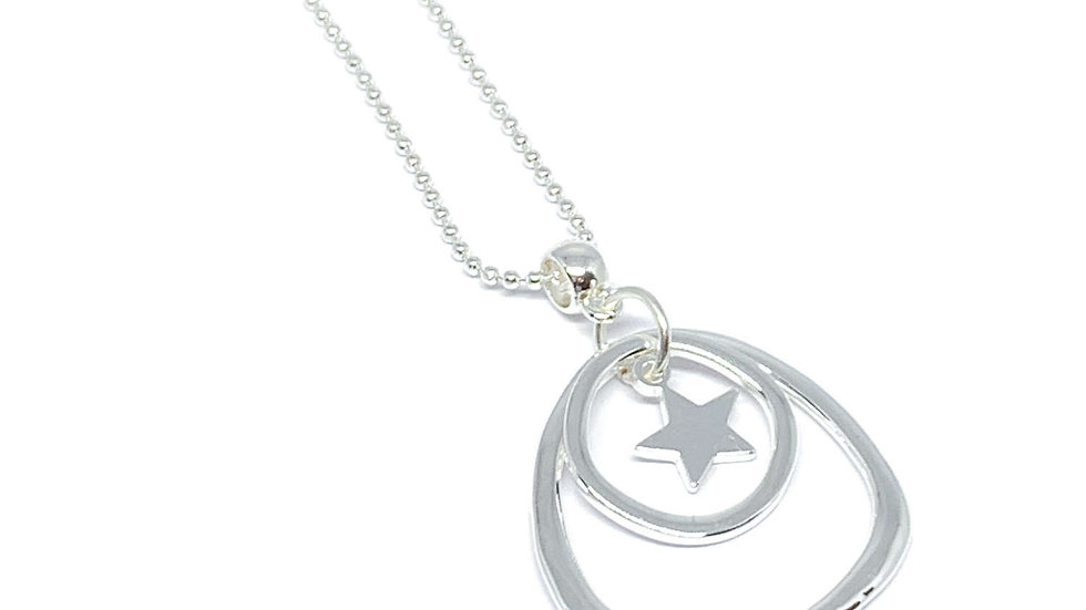 Silver Double Circle Star Necklace