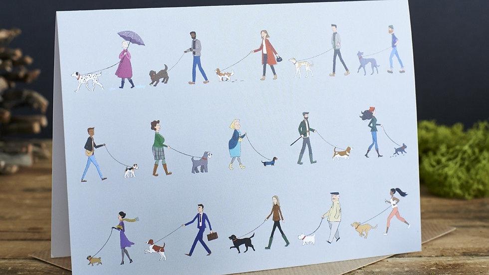 Dog Walker Greetings Card