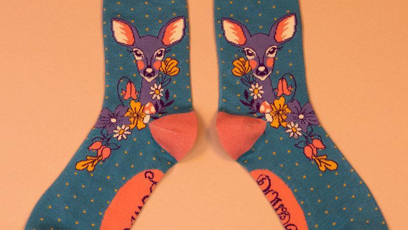 Floral Deer Ankle Socks Teal