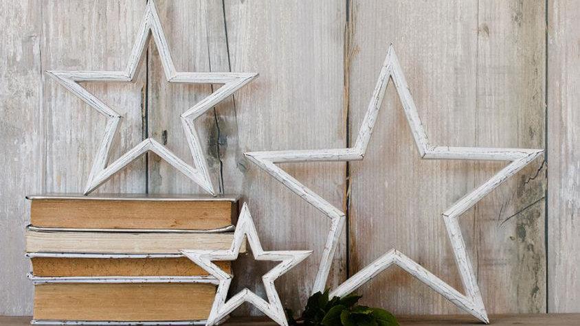 Set Of Three Wooden Stars