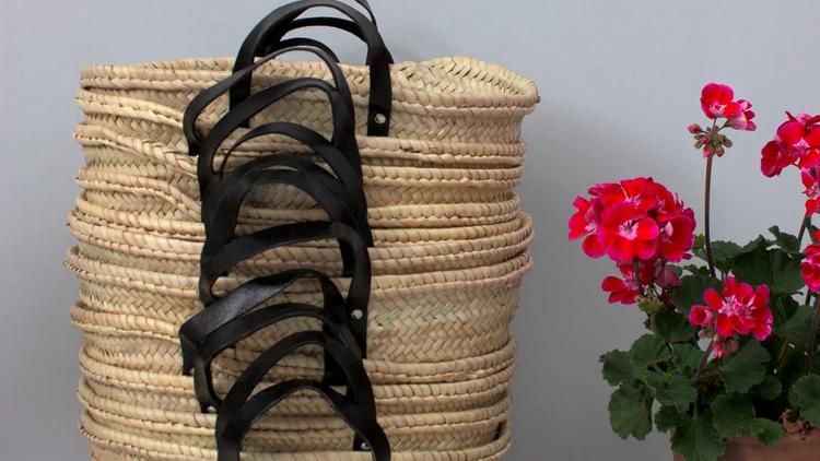 Black Handle Basket Bag