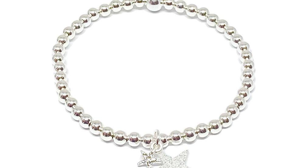 Silver Double Star Bracelet