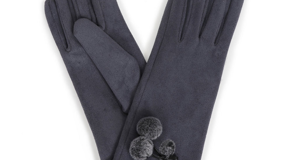 Powder Faux Suede Grey Gloves