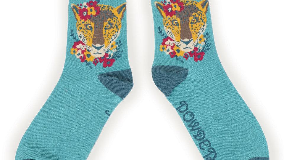 Leopard floral ankle sock