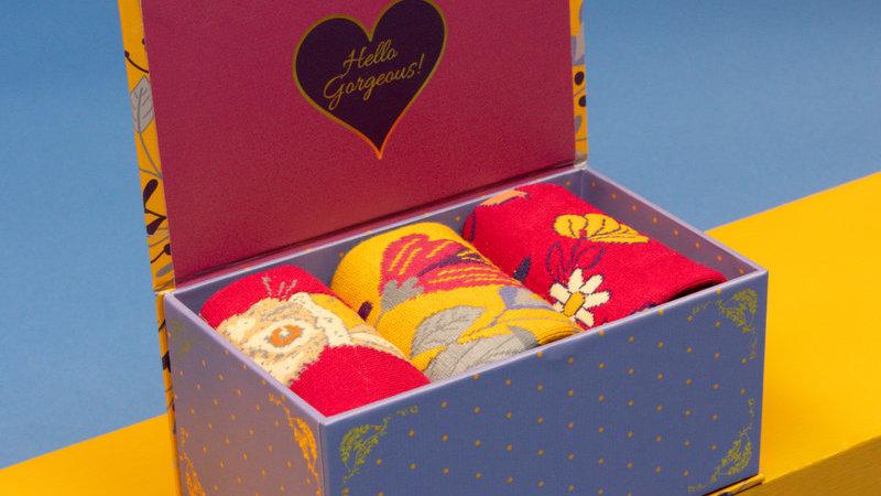 Ladies Delicate Floral Mustard Sock Box Mustard