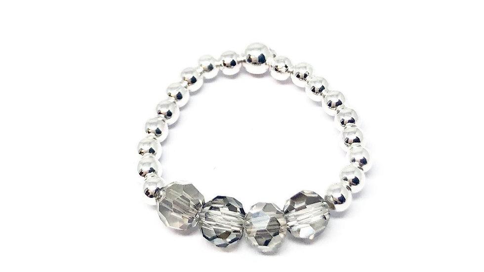 Rachel bead ring 'Silver shimmer'