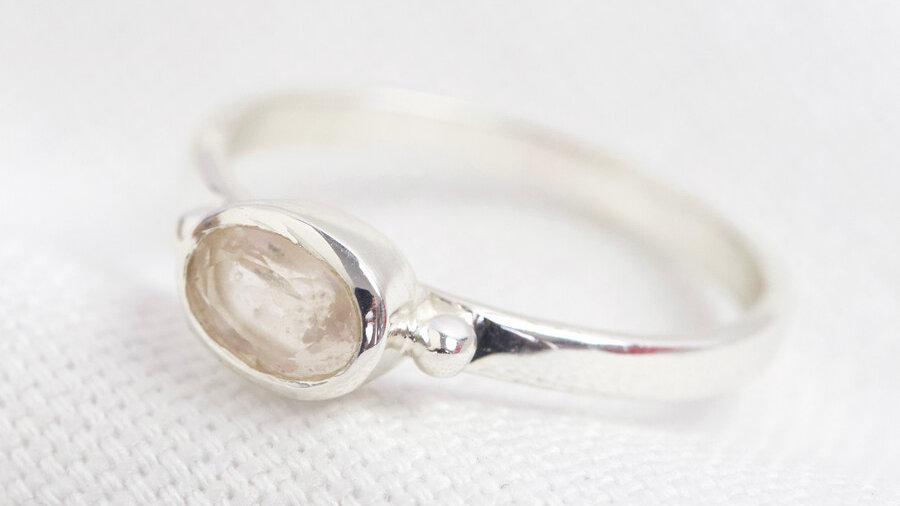 October Rose Quartz ring in Sterling Silver