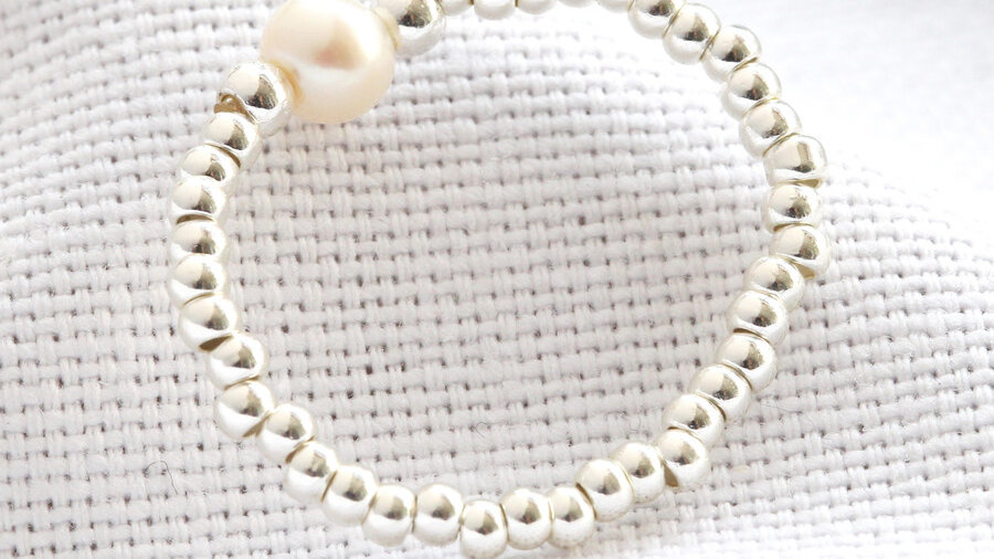 Silver Beads and Freshwater Pearl Stretch Ring