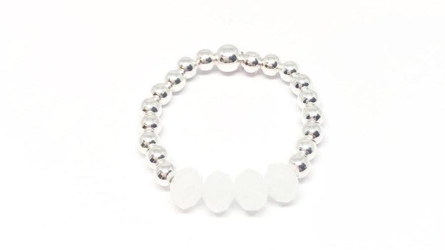 Rachel bead ring 'White'